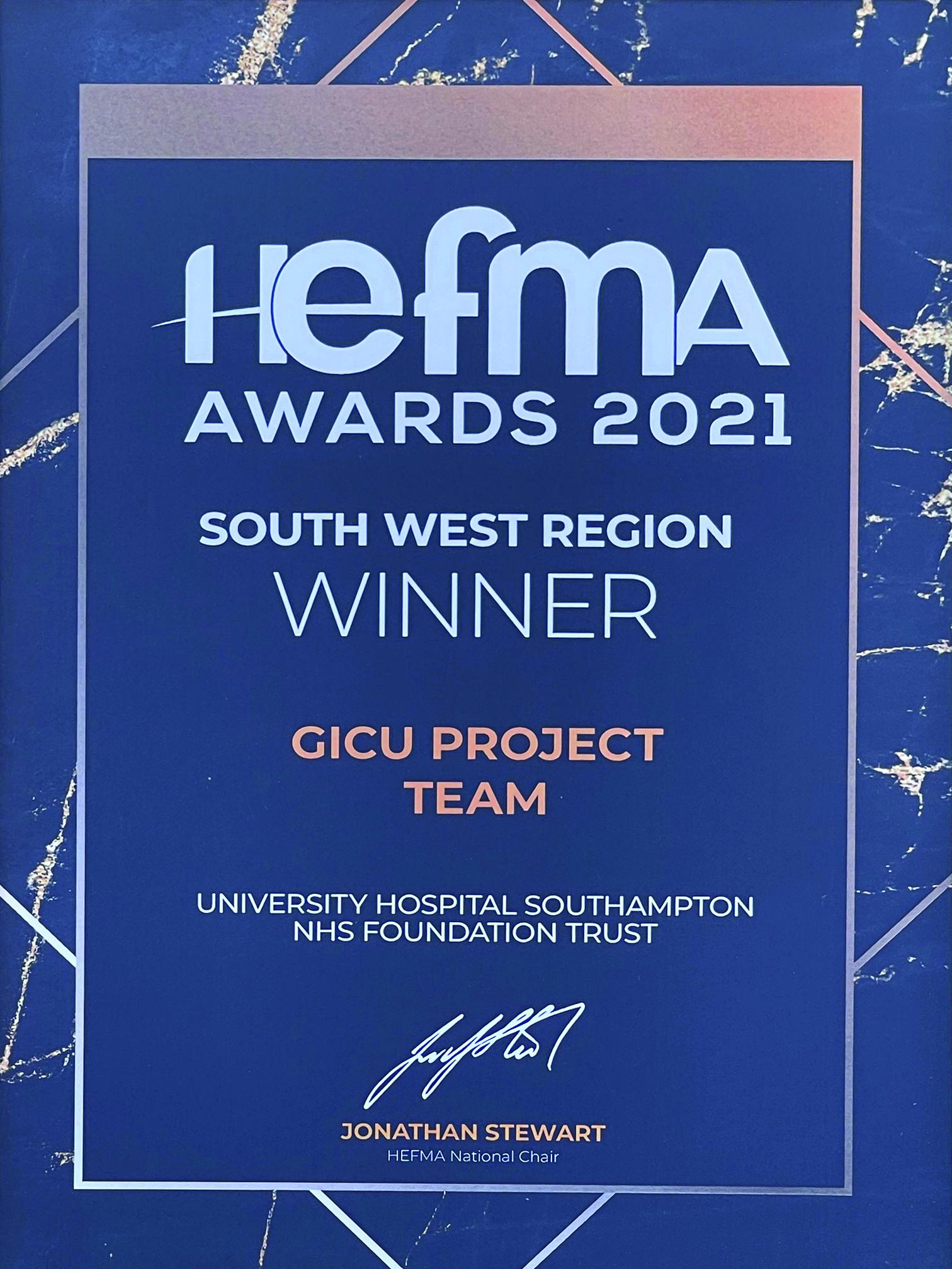 "Featured image for ""Southampton GICU Wins HFEMA award"""
